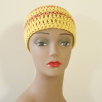 Maize Yellow Skull Cap; 2 Sienna Red Borders 100% Cotton Skull Cap
