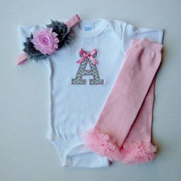 Pink Gray Chevron Baby Girl Monogram Initial Leg by mamabijou