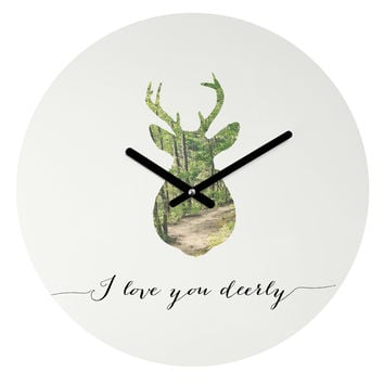 Allyson Johnson I Love You Deerly Silhouette Round Clock