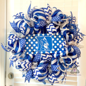 Duke Blue Devil Polka Dot Deco Mesh Wreath