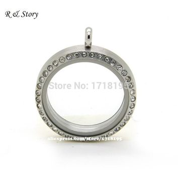 316_Stainless Steel Magnetic Floating Locket - Silver with Rhinestone 30MM LFL_001