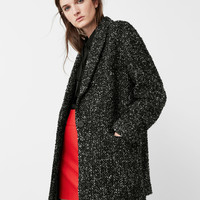 Flecked wool-blend coat