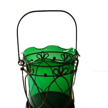 Green Glass Lantern Style Candle Holder