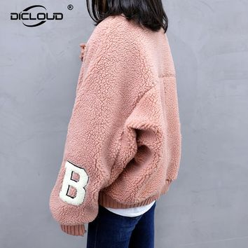 2017 Winter Women Faux Lamb Fur Coats Jackets Thicken Warm Oversized Bomber Jacket Women Pink Fur Coats Girls Outerwear Oevrcoat