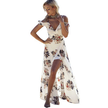 Off Shoulder Deep V Neck  Boho High Split Casual Chiffon Maxi Long Dress