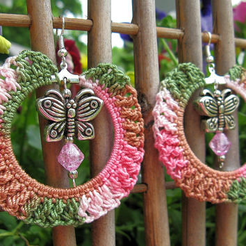 SALE - Crochet Hoop Earrings in Pink Camouflage with Dangling Butterflies and Crackled Glass Beads, No. 38