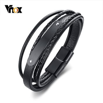 Vnox 8mm Free Engraving Bar ID Bracelet for Men Bangle Layered Genuine Leather Stainless Steel Magnetic Closure Pulseira