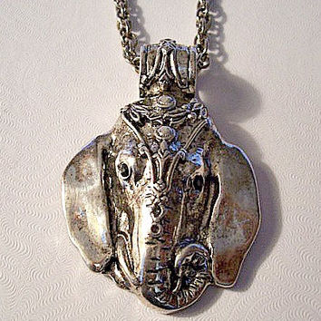 Elephant Head Necklace Pendant Silver Tone Vintage Rope Chain Head Dress Black Stone Eyes Large Loop