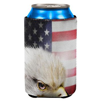4th of July American Bald Eagle Eye Flag All Over Can Cooler