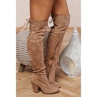 Kayline Thigh High Boots (Taupe Suede)
