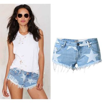 SUNSPA Women Shorts Fashion 2017 casual shorts capris Pocket straight denim shorts blue stars pattren shorts jeans XS size