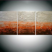 """ARTFINDER: triptych 3 panel wall decor art """" Citrus Silver """" acrylic three part impasto effect 3 panel metallic silver on canvas wall abstract 54 x 24"""" by Stuart Wright - """" Citrus Silver """" extra large triptych 3 piece ..."""