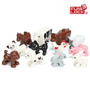 Funlock Duplo Blocks Toys Farm Animal Figures Bunny Cat Dog Cow Pony Pig Sheep Rooster Educational Toys For Kids Gifts