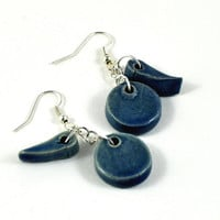 Ceramic Beaded Earrings Handmade Jewellery Blue Dangle Jewelry in Handmade Gift Pouch