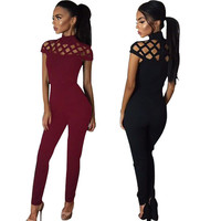 Rompers Womens Jumpsuit 2017 New Autumn Style Women Hollow Out Bodycon Rompers Bodysuits Sexy Solid Long Slim Club Jumpsuits