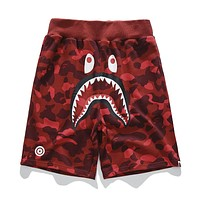 BAPE AAPE Summer Fashionable Camouflage Print Sports Running Shorts Red