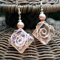 Pink Wire Wrapped Square Glass Earrings