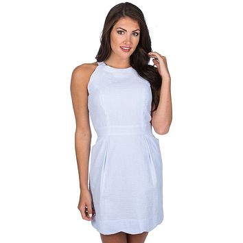 The Landry Seersucker Dress in Light Blue by Lauren James