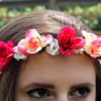 Flower Crown, Flower Headband, Floral Crown, Floral Headband, Coachella, Music Festival, Rave Accessory -Red and Pink Roses