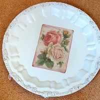 Vintage Painted Silverplate Tray Silver Plate Footed Tray Decoupage Roses Soft Blue