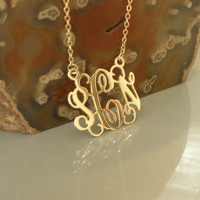 Gold Monogram Pendant 1.5 Inch - 925 Sterling Silver - 18k Gold Plated Free shipping Personalized Christmas Gift