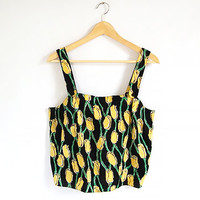 Vintage Floral Crop Tank - 80s / 90s Short Boxy Shirt - Camisole Top - Oversized Tulip Pattern - Black Yellow and Green - Cotton - Size S/ M