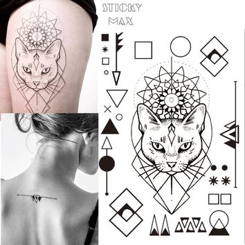 W17 1 Piece Geometric Cat Temporary Tattoo with Square, Round Circle, Triangle Geometry Pattern body Art Tattoos