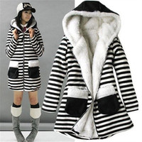 Fashion Womens Zebra Thicken Winter Warm Coat Lady Fur Jacket Outwear Coat (Size: One Size) = 1830065284