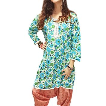 Mogul Womens Tunic Kurti Cotton Blue Floral Printed Bohemian Fashion Indian Dress XL