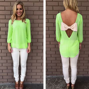 Big Bow Back Cutout Sleeve Shirt