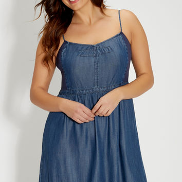plus size chambray dress with ribbed knit sides | maurices