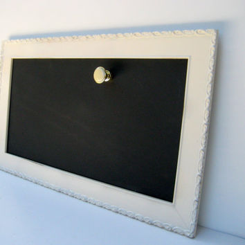 Framed Magnetic Chalkboard, Framed organizer and message center with a vintage cabinet knob magnet