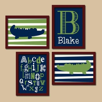 Alligator Wall Art, Alligator CANVAS or Prints, Alligator Baby Boy Nursery Art, Navy Green Boy Monogram, Alphabet ABC, Set of 4 Wall Decor