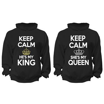XtraFly Apparel King Queen Rey Reina Valentine's Matching Couples Hooded-Sweatshirt Pullover Hoodie