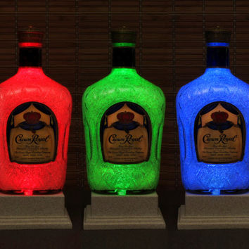 Crown Royal Whiskey Big 1.75 Liter LED Bottle Lamp Color Changing Remote Controlled