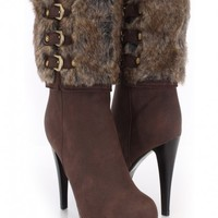 Brown Faux Leather Fur Shaft High Ankle Boots