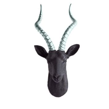 The Maasai | Large Antelope Gazelle Head | Faux Taxidermy | Black + Silver Horns Resin