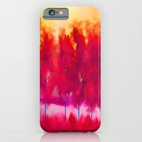 Red Trees Abstract Landscape iPhone & iPod Case by Jennifer Warmuth Art And Design