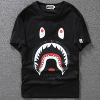 Bape 2018 big-eyed shark cotton men's and women's short-sleeved T-shirt F-A-KSFZ black