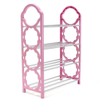 Shoe Rack 4 Tier Shoe Storage Shelves Organiser Shelf Holder Stand 430*180*580mm Four Colors Delivered In Random
