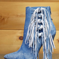 "Luichiny Going Fast Pointy Toe Fringe Mineral Wash Denim Ankle Boots - 4.5"" Heels"