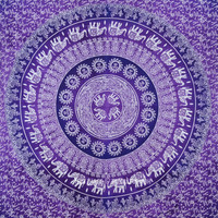 Purple Multi Elephants Sun Ombre Mandala Wall Tapestry on RoyalFurnish.com
