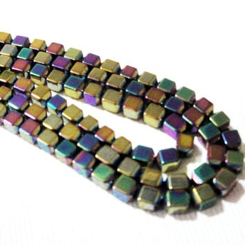 Hematite Beads, Rainbow Metallic Square Cube 3D Non Magnetic Hematite Beads, Purple, Blue Gold, 3mm  (100) Beads Approx