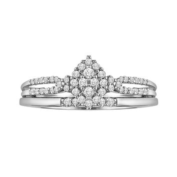 Cherish Always Round-Cut Diamond Engagement Ring Set in 10k White Gold (1/4 ct. T.W.)