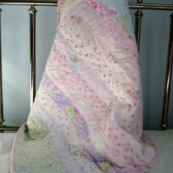 Baby Girl Quilt, Shabby Chic Crib Quilt, Strip Quilt, Pastel Flowers