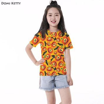 Domi Ketty kids t shirts print smile Pumpkin bat girls boys short sleeve tee Halloween Party children casual tops clothing
