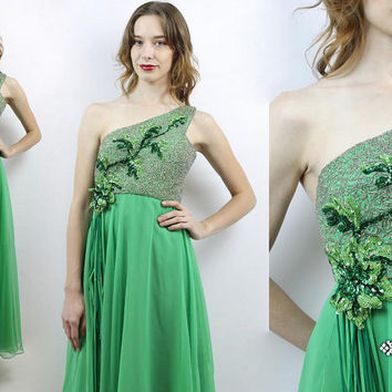 Poison Ivy Costume Poison Ivy Dress Vintage 70s Green Sequin Evening Gown XS Party Dress Prom Dress Sequin Dress One Shoulder Dress 1970s