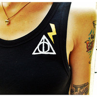 Hand painted Harry Potter Deathly Hallows Tank Top Size XS-M