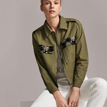 Zip Up Sequin Flap Pocket Patched Jacket