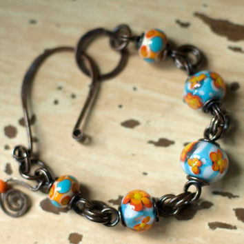 Bracelet Wire Wrapped Lampwork Beads by My3Chicks on Etsy